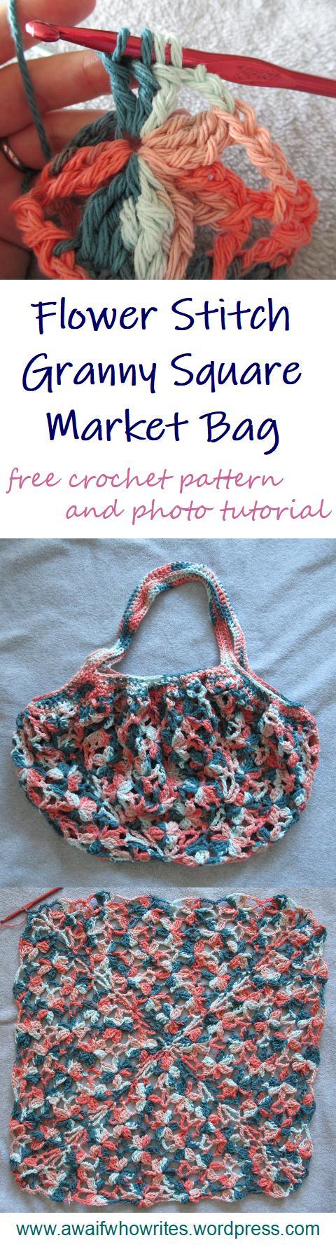 Flower Stitch Granny Square Market Bag | free crochet pattern and photo tutorial