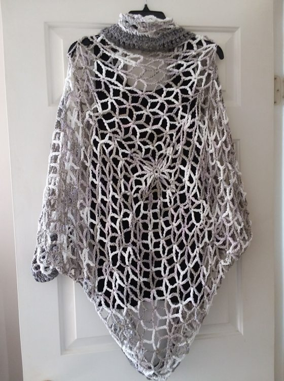 Lace Snowflake Granny Square Cocoon Shawl | crochet | back